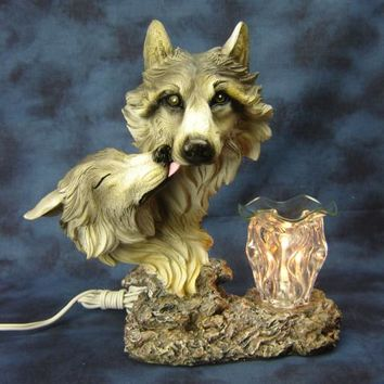 White Wolf Heads Table Fragrance Aroma Lamp Oil Diffuser Wax Tart Candle Warmer Burner Home Decor