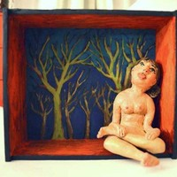 Nature Girl - Figure - Diorama - Clay Sculpture - Paint Wooden Box