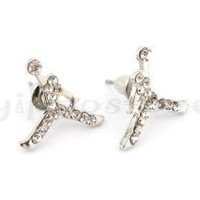 Michael Air Jordan Jumpman Silver Tone CZ Stud Hip Hop Bling Earrings
