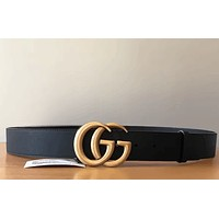 GUCCI Women Men Metal Smooth Buckle Belt Leather Belt I