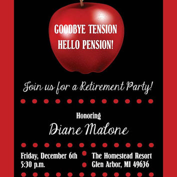 Apple Teacher Retirement Party Invitation • Retirement Invite • Printable Digital File