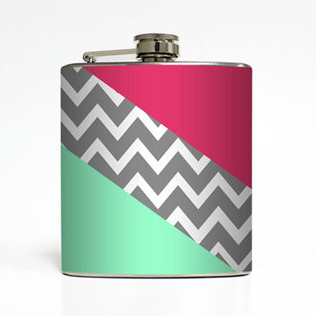 Liquor Flask Abstract Chevron Geometric 21st Birthday Women Birthday Bridesmaid Gifts Alcohol Stainless Steel 6 oz Liquor Hip Flask LC-1423