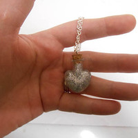 Once Upon a time abc disney Tinkerbell Silver Pixie Dust Heart Potion Bottle Necklace