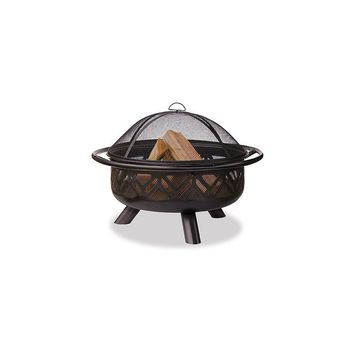 Uniflame Bronze Outdoor Firebowl with Geometric Design