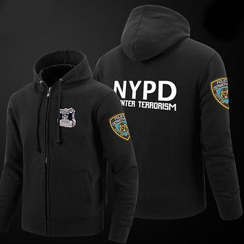 2017 Brand Women NYPD Hoodies Men Casual Sportswear Hoody Zipper Long-sleeved Sweatshirt Men Cotton Print Pullover Tracksuits