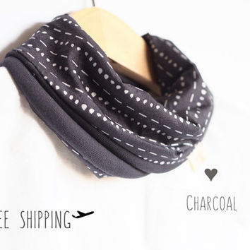 Infinity scarf baby | Hipster baby | Charcoal scarf bib | Toddler boy girl | Children Scarf | Teething bib | Baby shower gift | 100% cotton