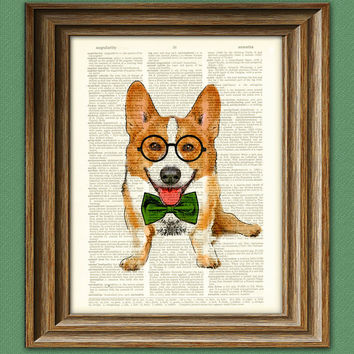 Poindexter the Teacher's Pet Corgi with glasses and bow tie Corgi dog original art vintage dictionary page book art print