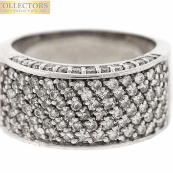 Lovely Ladies Estate 14K White Gold 0.76ctw Pave Diamond Band Ring