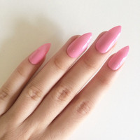 Gloss pink stiletto nails, hand painted acrylic nails, fake nails, false nails, stick on nails, nail art, artificial nails