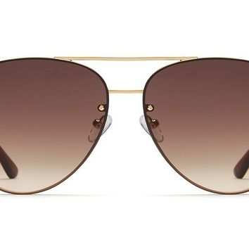 Quay - Cool Innit Gold Sunglasses / Brown Lenses