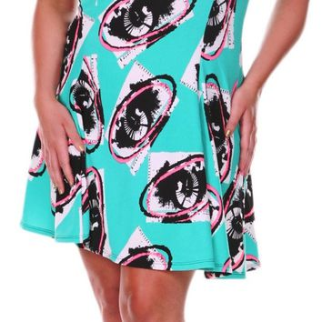 Plus Size Floral Print Fit-and-Flare Swing Dress Mint