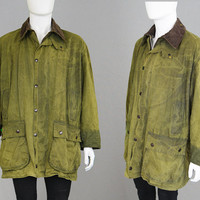 Rare Vintage BARBOUR Border A200 Wax Jacket Green Mens Hunting Jacket Country Gent Cotton Cord Collar Made England Shooting Woodland Autumn