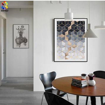 Nordic Geometric Cube Art Posters and Prints Wall Art Canvas Painting Pictures For Living Room Abstract Home Decor