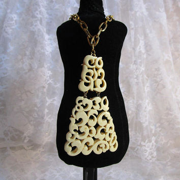 Vintage 60s KRAMER Ivory Necklace Lucite Ivory 1960s Scroll Cut Out Pendant Design Gold Chain Statement Jewelry