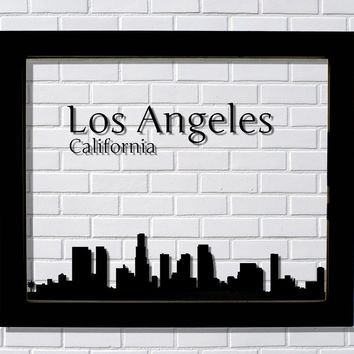 Los Angeles Skyline - Floating City Art Print Cityscape Artwork - California Downtown LA Silhouette