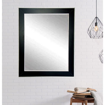 "Brandt Works Silver Accent Black Wall Mirror BM011L2 32""x50"""