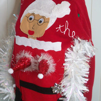 Unisex Ugly Christmas Sweater Women L Men Small  Naughty Ho  Mrs Claus Funny Naughty Fun.NEVER BEFORE SEEN