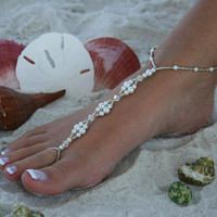 Barefoot Sandal  Pearls & Crystals Barefoot by moodyelizabeth
