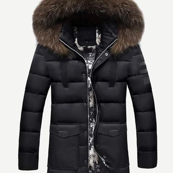Men Contrast Tape Solid Hooded Puffer Coat