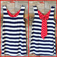 Liberty Bow Back Top: Blue
