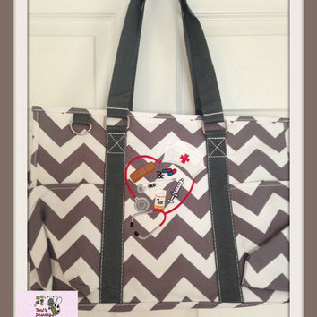 Grey Chevron Grey Handles  Large  Organizer Tote Bag  perfect every Day Tote !! SPECIAL PRICE !!