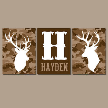 CAMO DEER Wall Art, Canvas or Prints, Baby Boy Name Country Nursery Pictures, Big Boy Bedroom, Antlers Rustic Decor, Set of 3 Brown Tan