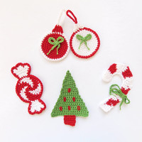Crocheted Applique Christmas Peppermint, Tree, Cane From Cotton Yarn- Crochet Supplies For Clothing, Hair Clips, Handbags 3pcs
