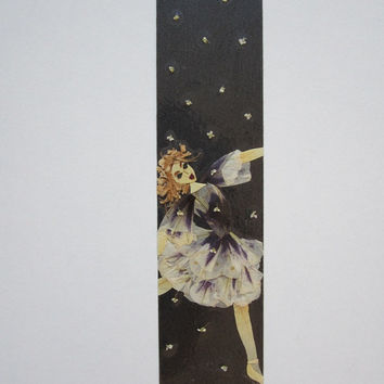 "Handmade unique bookmark ""My parallel universe"" - Decorated with dried pressed flowers and herbs - Original art collage."