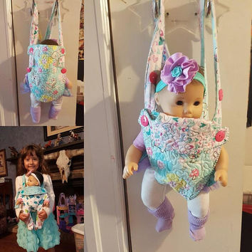"Baby doll carrier sling 15-16 inch dolls or stuffed animals ( Will fit Bitty Baby® ) ""Woodland Animals"" adjustable quilted hearts  A6"