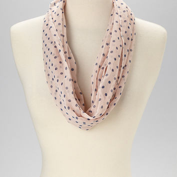 Women Lightweight Soft Casual Pink Navy Polka Dots Pattern Infinity Scarf