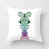♥ ♥ ♥  ZOE ZEBRA  ♥ ♥ ♥  Throw Pillow by M✿nika  Strigel for Society6 in three sizes and NOW FREE SHIPPING !!!