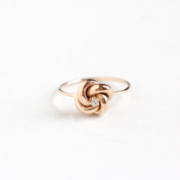 Antique 10k Rose Gold Old Cut Diamond Victorian Love Knot Ring - Size 6 3/4 Late 1800s Fine Stick Pin Conversion Cluster Jewelry