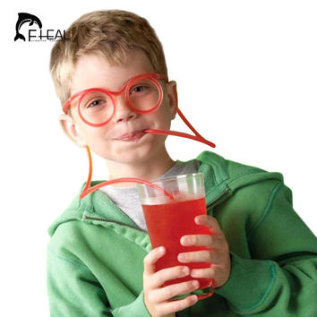 FHEAL Funny Soft Glasses Straw Unique Flexible Drinking Tube Kids Colorful Plastic Drinking DIY Straws Bar Accessories