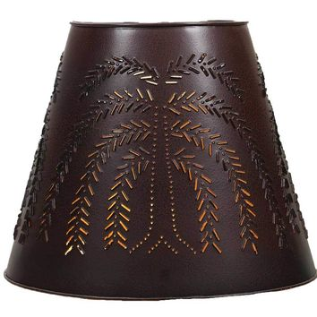 """8"""" x 15"""" x 12"""" Tin Washer Top Lamp Shade - Willow - Crackle Black/Red"""