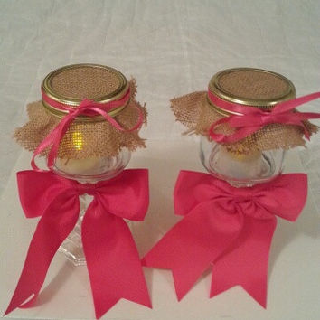 Burlap pink coral wedding candle jar / center piece set. Any color to match your wedding