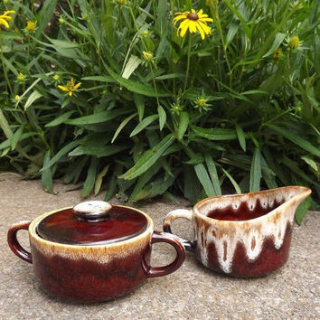 Vintage Drip Glaze Pottery, Sugar and Creamer Set, Brown Ceramic Serving Set