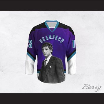 Scarface Tony Montana 13 Purple and White Hockey Jersey