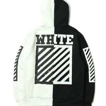PEAPGZ9 OFF WHITE Winter Patchwork Stripes Hats Hoodies Jacket [11501028428]