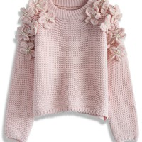 My Flowers and Pearls Sweater in Pink