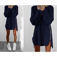 Casual Loose Solid Color Zip Irregular Long Sleeve Sweater Mini Dress