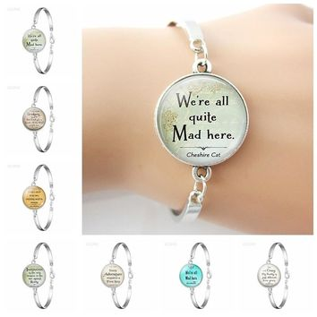 We're All Quite Mad Here Glass Cabochon Bracelet Alice In Wonderland Silver Plated Charm Bracelet Women Daughter Birthday Gift