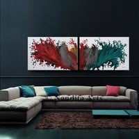 """Abstract wall art framed Painting, 72"""" x 24"""" Large 2 Panels painting Angel Wings Look Modern Art, large modern art on canvas by Nandita"""