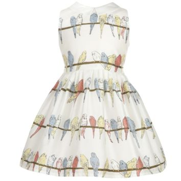 Bryony - Girls Budgies White Dress With Collar