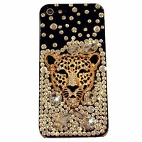 FancyG® Elegant 3D Luxury Bling Crystals Rhinestone Diamonds Leopard Head Cheetah Face Black Back Cover Case Fits for iPhone 5 5S 4G