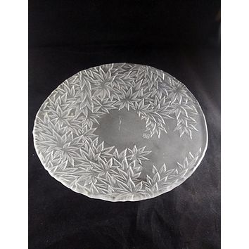 Large Frosted Japanese Shallow Bowl, Leaf Pattern