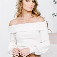 Creamy Off Shoulder Long Sleeve Crop Top