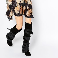Free People Paradiso Black Suede Wrap Knee Boots