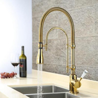 Pull out Kitchen Gold Mixer Sink Faucet