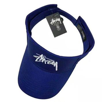 Stussy Fashion New Embroidery Letter Women Men Sunscreen Travel Hat Cap Blue