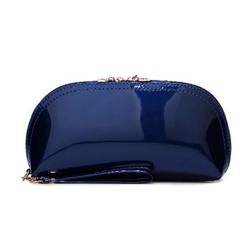 The new European and American style fashion PU patent leather candy-colored evening bag clutch wallet coin purse  of women
